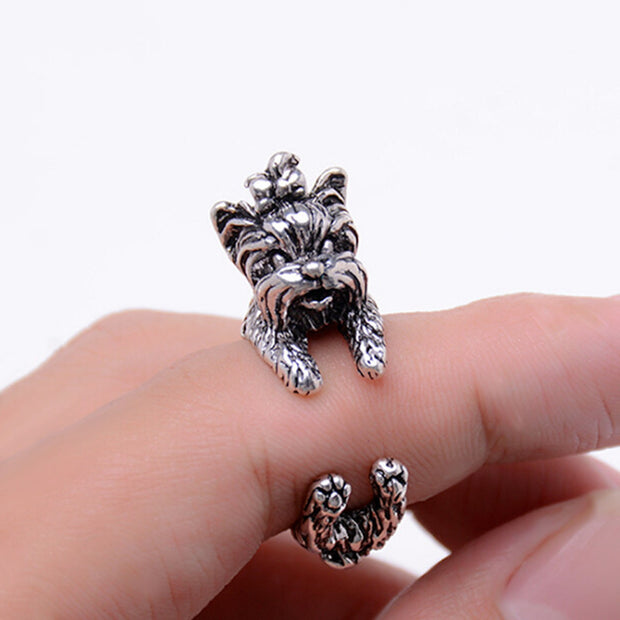 silver finish cute yorkie dog ring on finger adjustable size