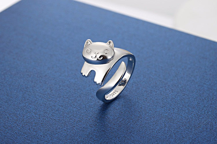 Happy Kitty Ring -Silver Plated - Animal Ringdom