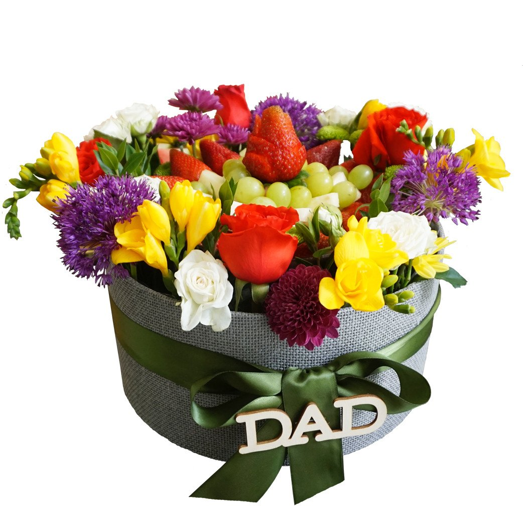 Thank you dad flower fruit platter arrangement thank you dad flower fruit platter by fruitate izmirmasajfo