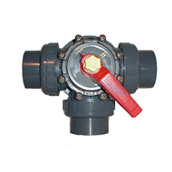 "Praher 3-way valve with 2"" socket with unions"