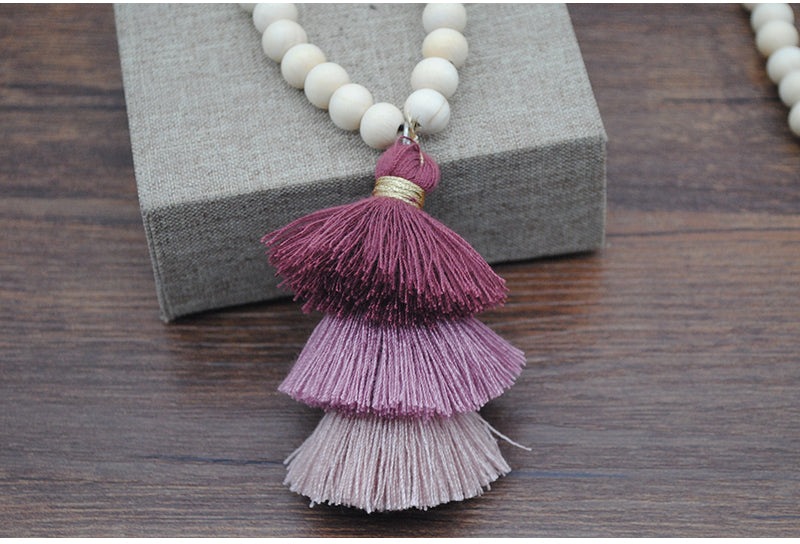 Ivory Wood Bead Tri-Layered Tassel Necklace