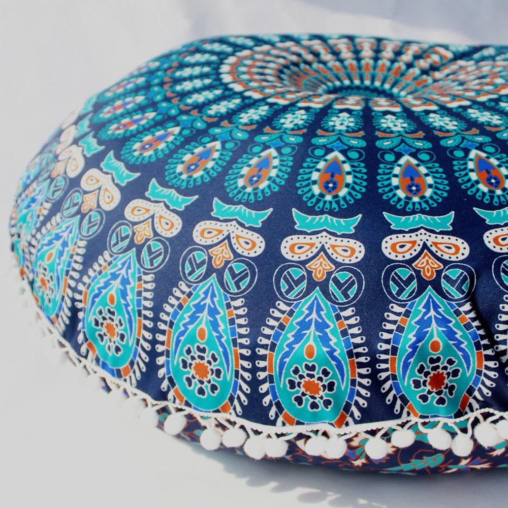 Indian Mandala Round Floor Pouf