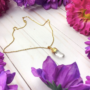 Gold Dipped Clear Quartz Manifestation Necklace by BohoBabe