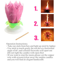 Candle Musical Spinning Lotus Flower Rotating Happy Birthday Party Gift Light