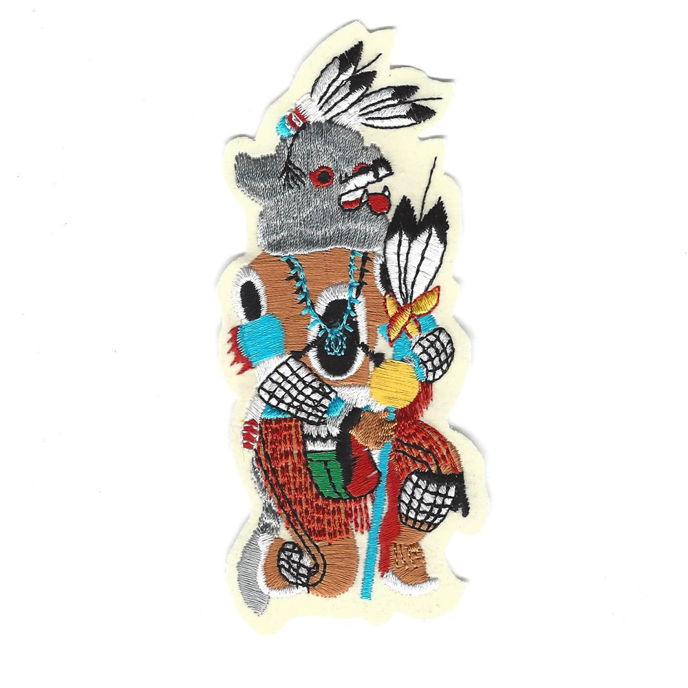 Kweo Wolf Sew-On Kachina Patch - Desert Gatherings