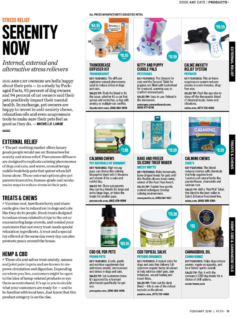 THANK YOU PETS+ Magazine for Featuring Petabis Organcis CBD Topical for Stress Relief in Serenity Now