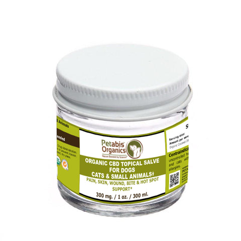 PETABIS ORGANICS CBD TOPICAL SALVE FOR DOGS CATS SMALL ANIMALS AND HORSES