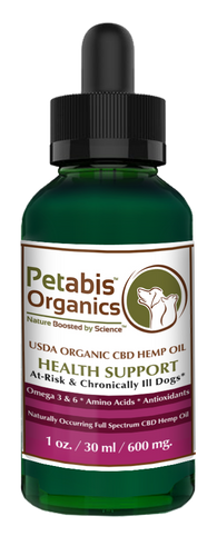 CBD HEMP OIL 600 mg AT-RISK & CHRONICALLY Ill DOGS* - CBD PCR USDA Organic Hemp Oil for Dogs