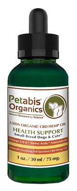 CBD HEMP OIL 75 mg. SMALL BREED DOGS & CATS* - 75 mg. USDA Organic CBD PCR Oil for Cats & Dogs* 1 Oz