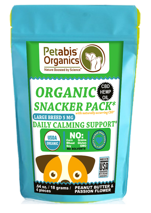 CBD CALMING LARGE BREED SNACK PACK* 4 PIECE DAILY CALMING SUPPORT 5 mg. EACH* 4 PIECE TRAVEL SIZE CBD SNACK PACK*