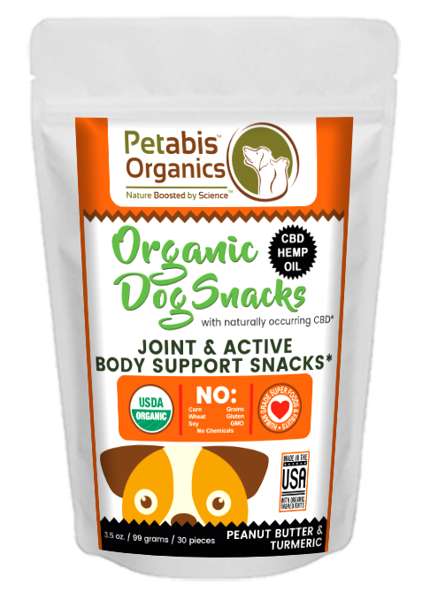 CBD JOINT & ACTIVE BODY SUPPORT 1.5 MG. DOG SNACKS* 30 Pieces CBD PB & TURMERIC* 3.5 oz