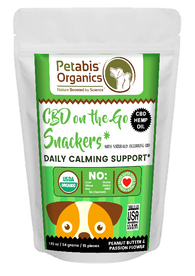CBD ON THE GO DAILY CALM SUPPORT SNACKERS 1.5 mg. 15 Pieces* PB & PASSION FLOWER CBD Snacks* 1.92 Oz.