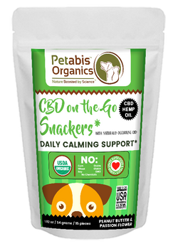 CBD ON THE GO DAILY CALMING SUPPORT SNACKERS 1.5 mg. 15 Pieces* PB & PASSION FLOWER CBD Snacks* 1.92 Oz.