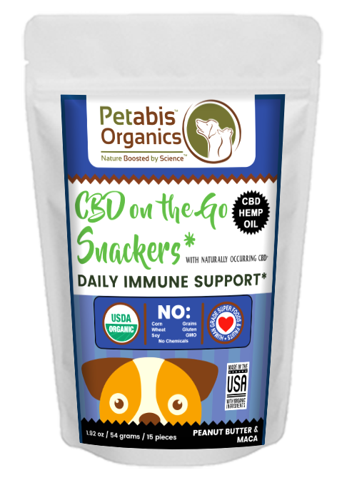 CBD On The GO DAILY IMMUNE DOG SNACKERS 1.5 mg* 15 Pieces- CBD PB & MACA DOG TREATS* 1.92 oz