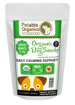 CBD DAILY CALMING SUPPORT SNACKS-LARGE BREED SNACKS 5 mg. 30 Pieces*- PB & PASSION FLOWER* 3.65 Oz Bag