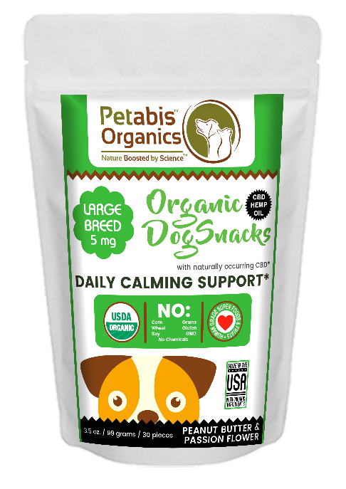 CBD DAILY CALM SUPPORT SNACKS* 5 mg LARGE BREED SNACKS* 30 Pieces PB & PASSION FLOWER 3.65 Oz Bag