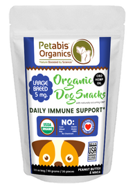 CBD DAILY IMMUNE SUPPORT 5 mg LARGE BREED DOG SNACKS* 30 Pieces PB & MACA TREATS* 3.5 Oz.