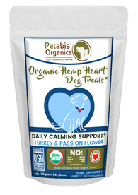 HEMP HEART DAILY CALMING SUPPORT DOG TREATS 30 Pieces* TURKEY & PASSION FLOWER & CAROB 4 oz 30 Pieces