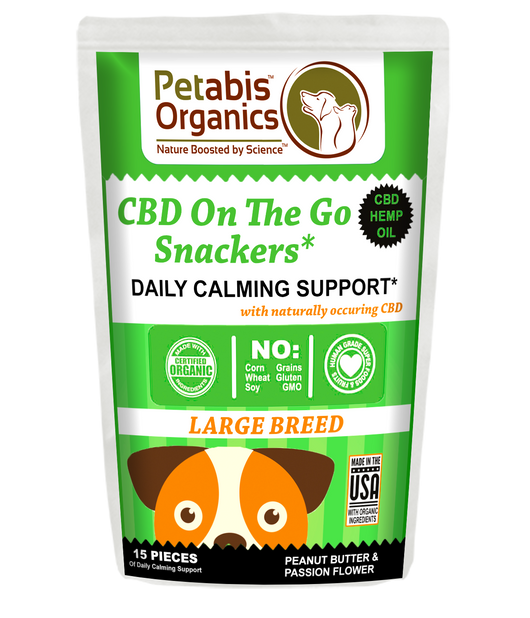 CBD ON THE GO SNACKERS DAILY CALMING SUPPORT LARGE BREED 5 mg 15 Pieces*  PB & PASSION FLOWER* 1.95 oz