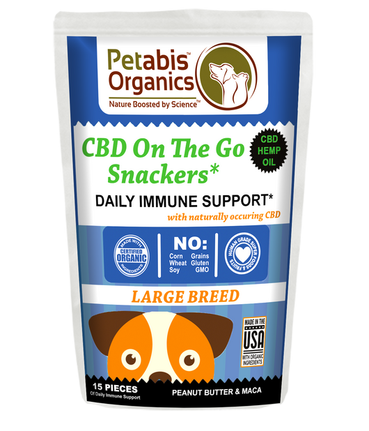 CBD ON THE GO SNACKERS DAILY IMMUNE SUPPORT* 5 MG LARGE BREED 15 Pieces PB & MACA TREATS* 1.98 Oz. Bag