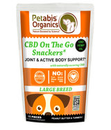 CBD ON THE GO SNACKERS* JOINT & ACTIVE BODY LARGE BREED 5 mg 15 Pieces* PB & TURMERIC TREATS* 1.98 Oz Bag