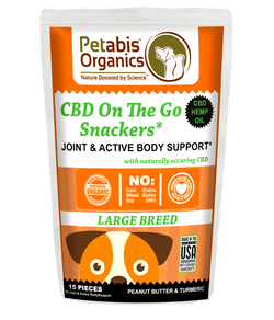 CBD ON THE GO SNACKERS JOINT & ACTIVE BODY-LARGE BREED 5 mg 15 Pieces* PB & TURMERIC TREATS* 1.98 Oz Bag