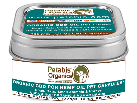 CBD PET CAPS* 100 MG ACTIVE CBD* 10 CAPS, 10 MG PER CAP* CBD PCR HEMP OIL PET CAP PACKS*
