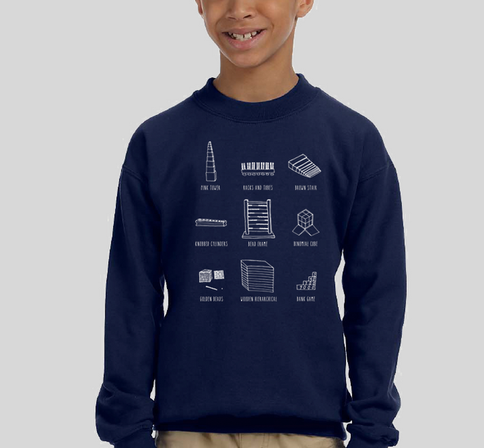 'Montessori Material' Crew Sweatshirt in Navy
