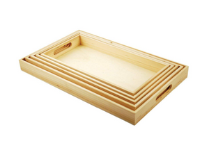 5-Piece Paintable Wooden Trays with Handles for Mrs DuBois' class