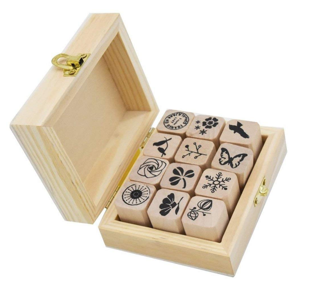 12 Mini Wooden Rubber Stamp Set with Wooden Box for Mrs DuBois' Class