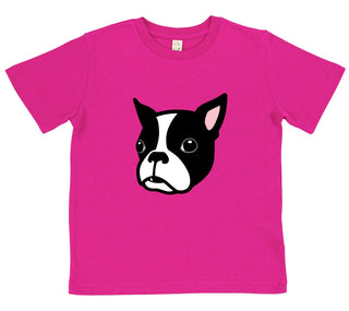girls Boston Terrier t-shirt pink