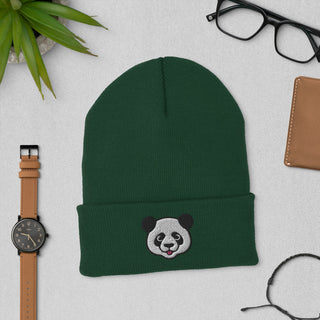 Embroidered Panda Beanie Hat
