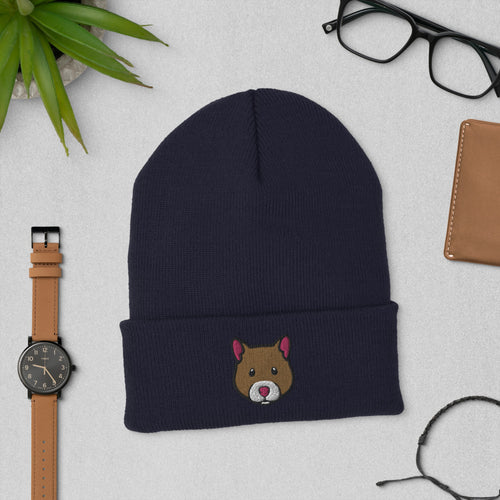 Embroidered Hamster Beanie Hat