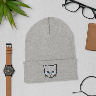 Embroidered Cat Beanie Hat