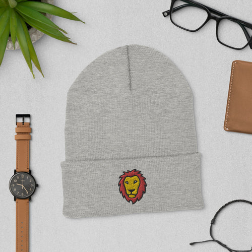 Embroidered Lion Beanie Hat