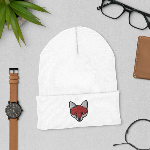 Embroidered Fox Beanie Hat
