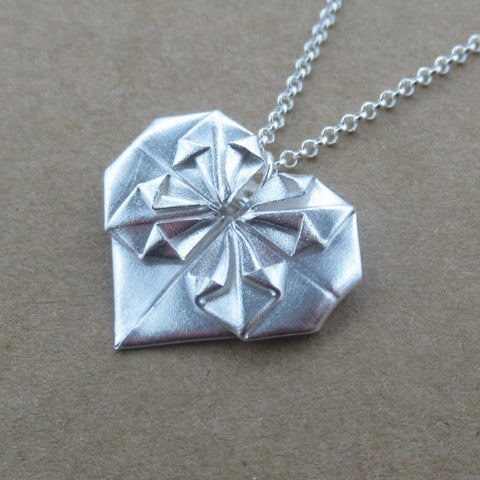 Origami Heart Pendant in Fine Silver - PartsbyNC Industrial Jewelry