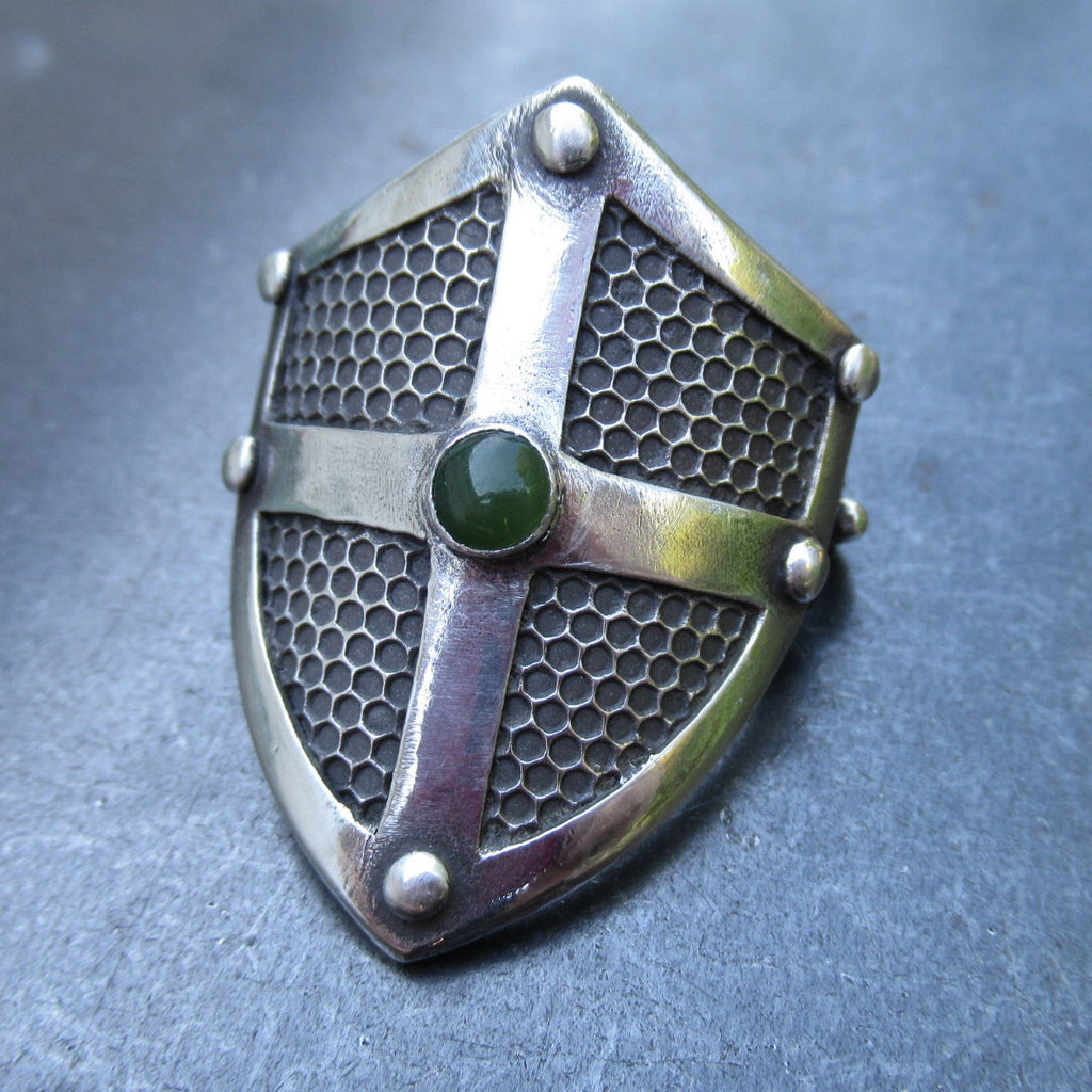 Shield with Grate Texture Ponytail Holder in Fine Silver