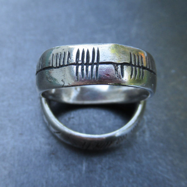 Custom Ogham Ring in Fine Silver and Diamonds - PartsbyNC Industrial Jewelry