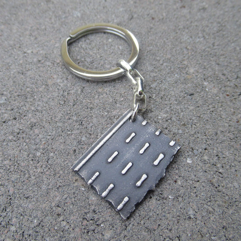 Key Chain Road Fragment in Sterling Silver - Own the Road - PartsbyNC Industrial Jewelry