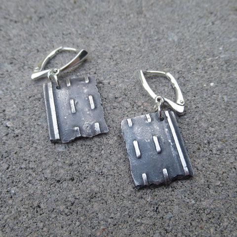 Road Fragment Earrings in Sterling Silver - Own the Road - PartsbyNC Industrial Jewelry