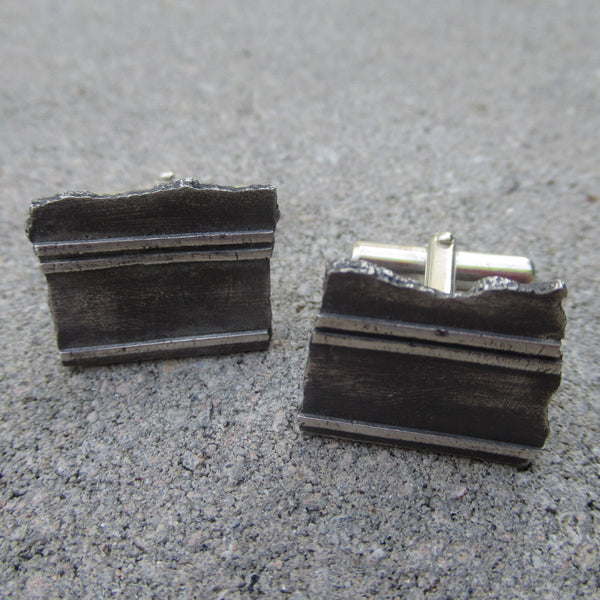 Road Fragment Cuff Links in Sterling Silver - Own the Road - PartsbyNC Industrial Jewelry