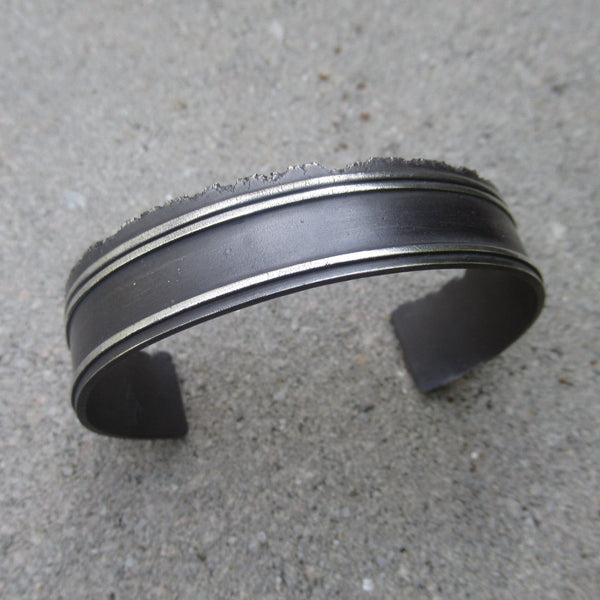 Road Fragment Cuff Bracelet in Sterling Silver - Own the Road - PartsbyNC Industrial Jewelry