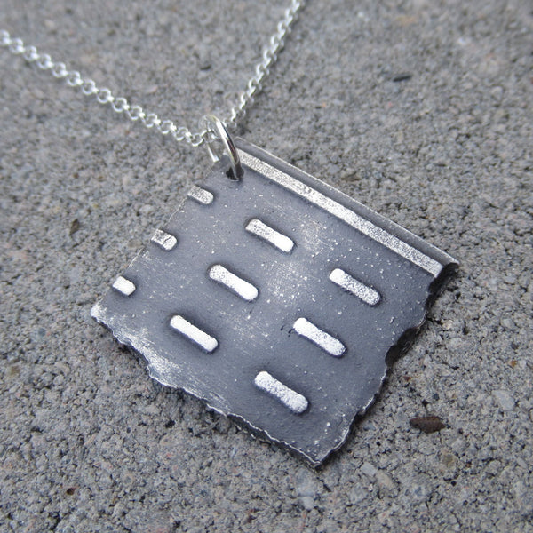 Large Road Fragment Pendant in Sterling Silver - Own the Road - PartsbyNC Industrial Jewelry