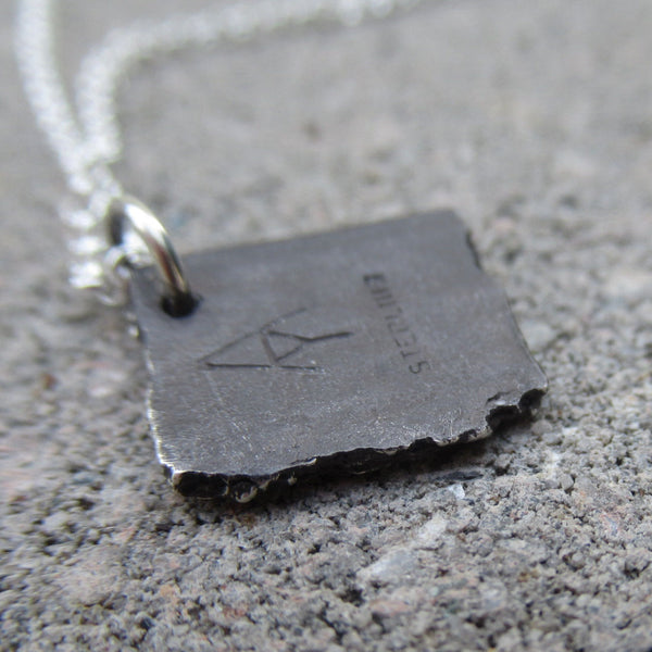 Small Road Fragment Pendant in Sterling Silver - Own the Road - PartsbyNC Industrial Jewelry