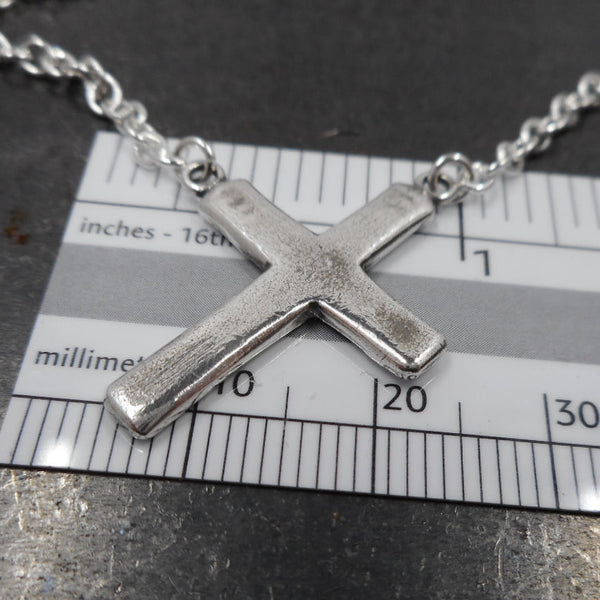 Hanging Cross Necklace in Sterling & Fine Silver - PartsbyNC Industrial Jewelry