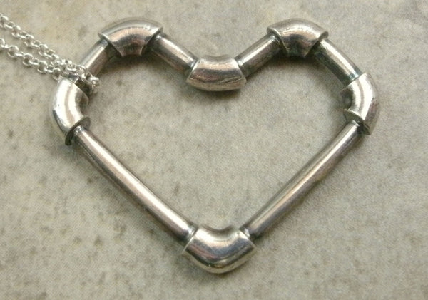 Lead Pipe Heart Necklace in Fine Silver - PartsbyNC Industrial Jewelry