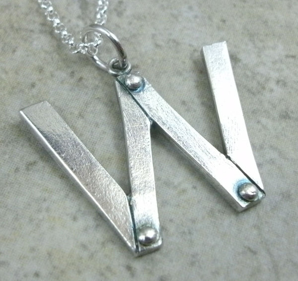 Letter Pendant in Fine Silver - PartsbyNC Industrial Jewelry