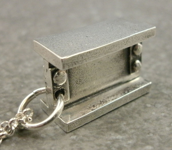 I-Beam Pendant in Fine Silver - PartsbyNC Industrial Jewelry