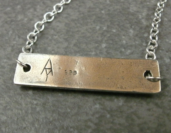 Bar with Rivets Necklace in Sterling & Fine Silver - PartsbyNC Industrial Jewelry